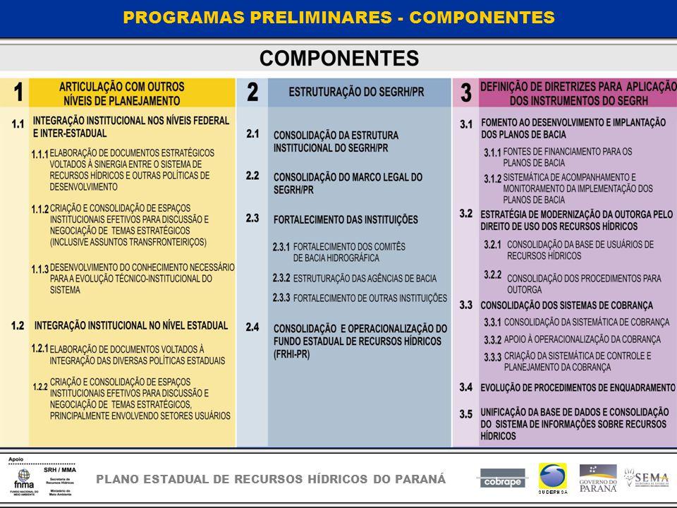 PROGRAMAS PRELIMINARES - COMPONENTES