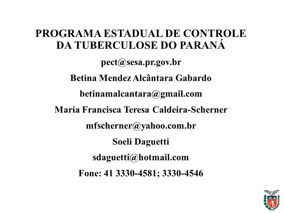 PROGRAMA ESTADUAL DE CONTROLE DA TUBERCULOSE DO PARANÁ