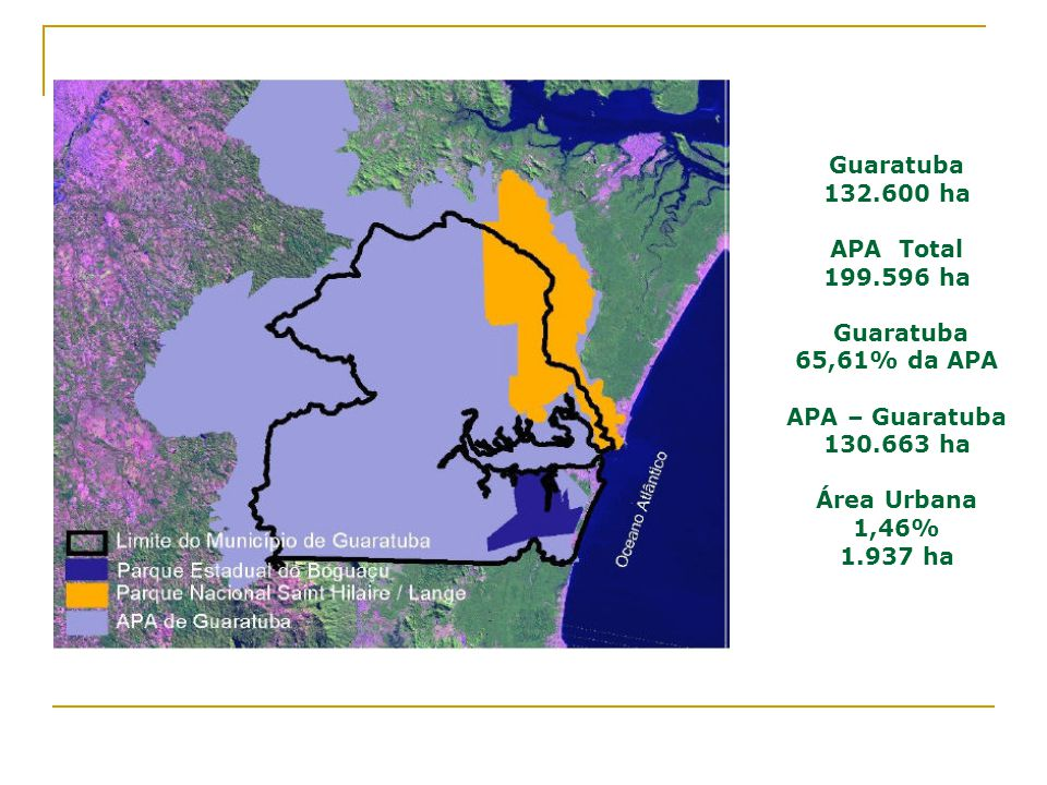 Guaratuba 132.600 ha APA Total 199.596 ha Guaratuba 65,61% da APA APA – Guaratuba 130.663 ha Área Urbana 1,46% 1.937 ha