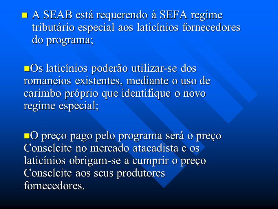 A SEAB está requerendo à SEFA regime tributário especial aos laticínios fornecedores do programa;