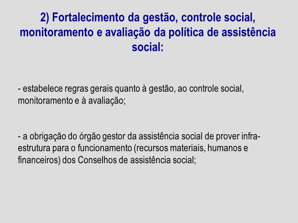 2) Fortalecimento da gestão, controle social, monitoramento e avaliação da política de assistência social: