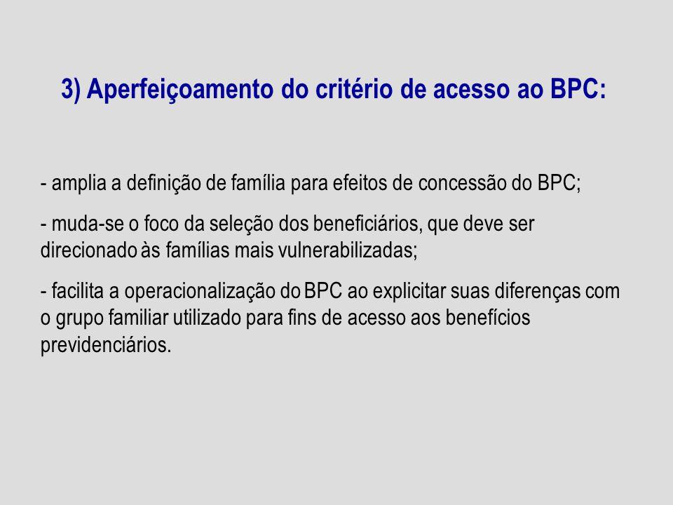3) Aperfeiçoamento do critério de acesso ao BPC: