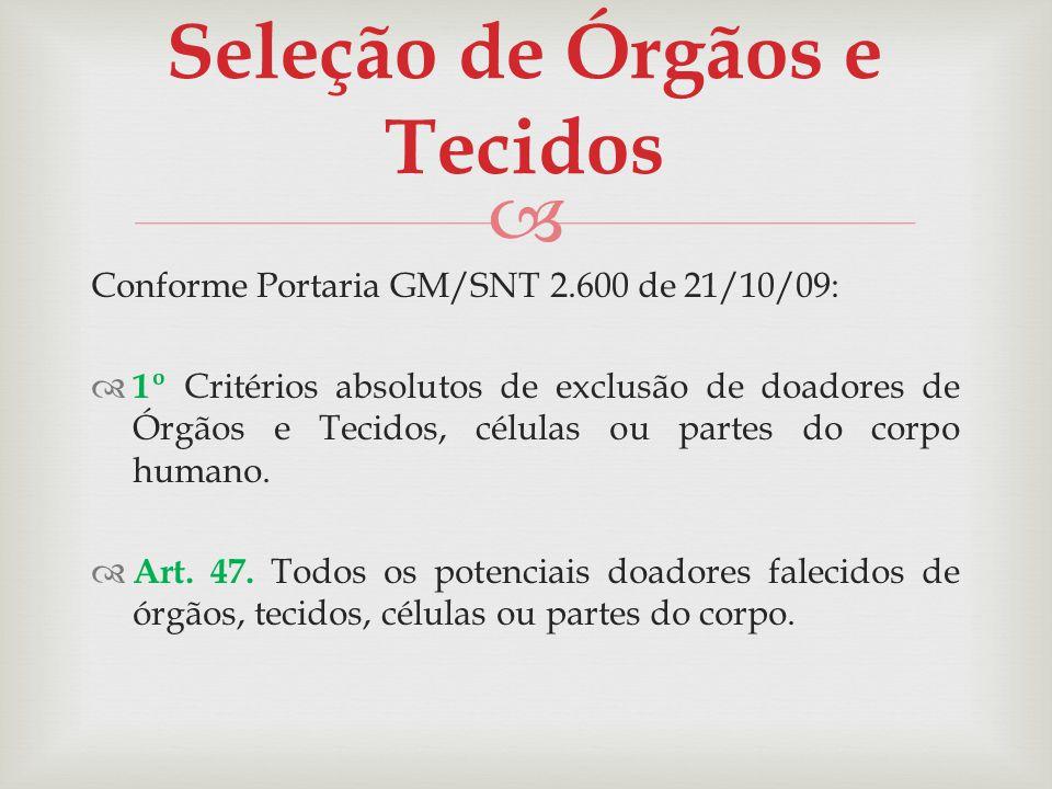 Seleção de Órgãos e Tecidos