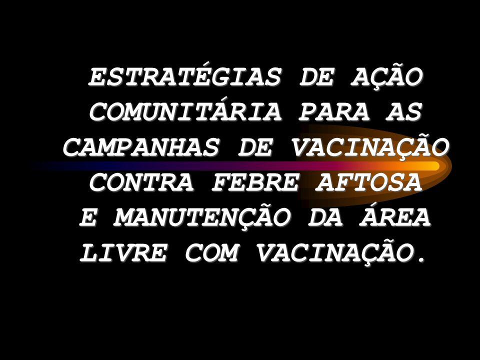 ESTRATÉGIAS DE AÇÃO COMUNITÁRIA PARA AS CAMPANHAS DE VACINAÇÃO CONTRA FEBRE AFTOSA E MANUTENÇÃO DA ÁREA LIVRE COM VACINAÇÃO.