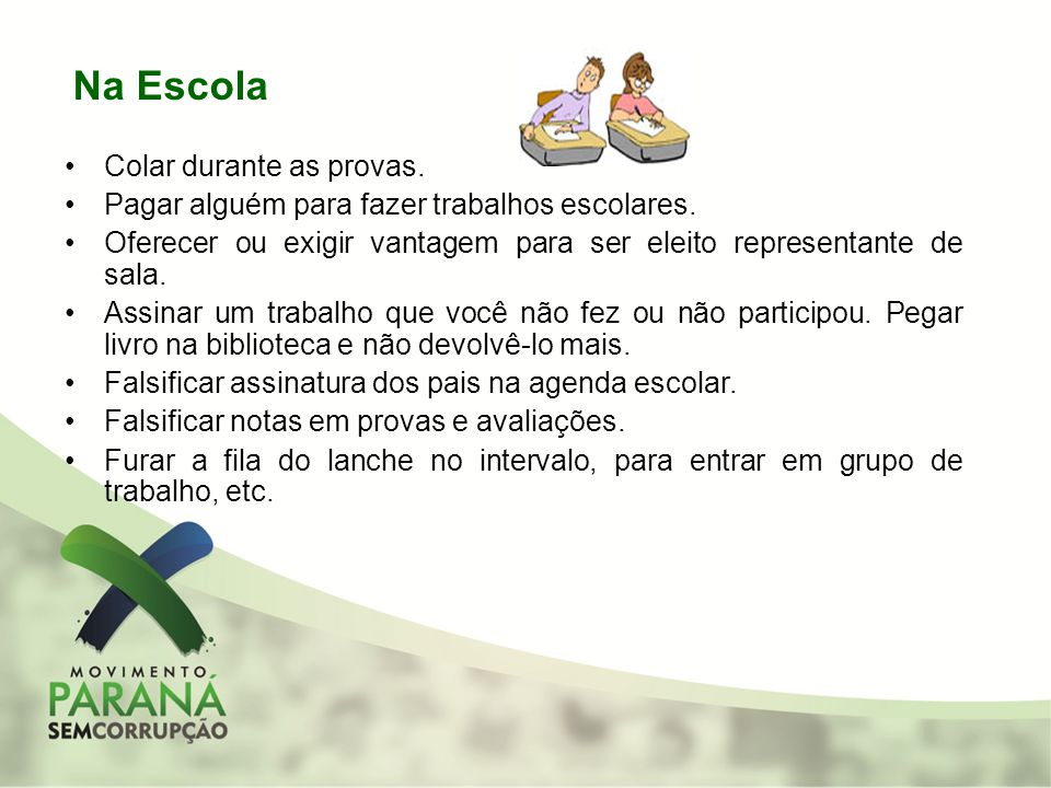 Na Escola Colar durante as provas.