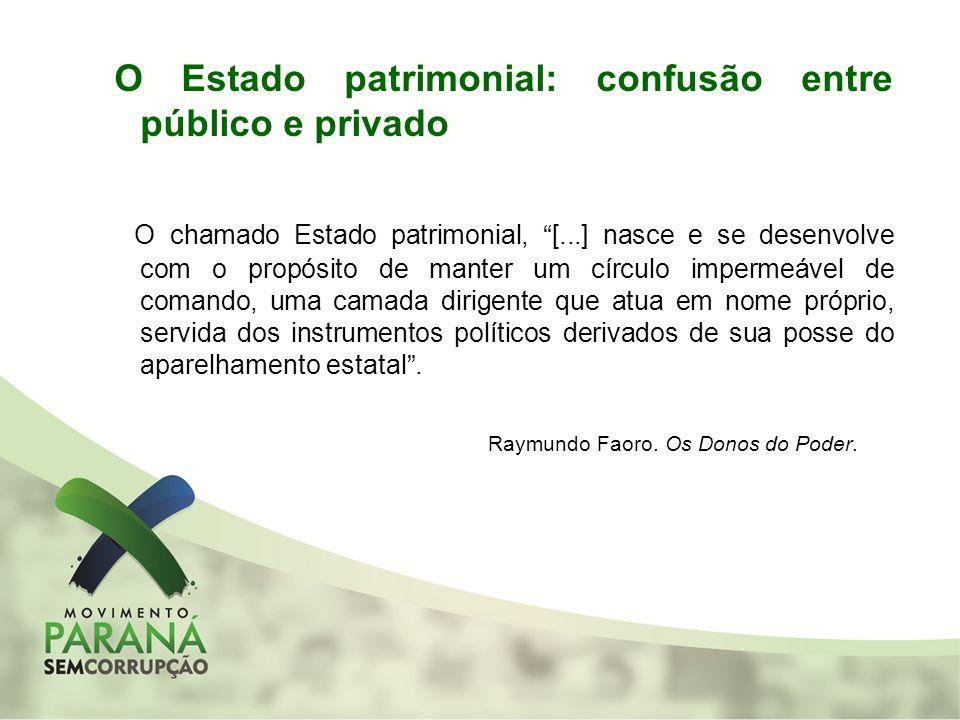 O Estado patrimonial: confusão entre público e privado