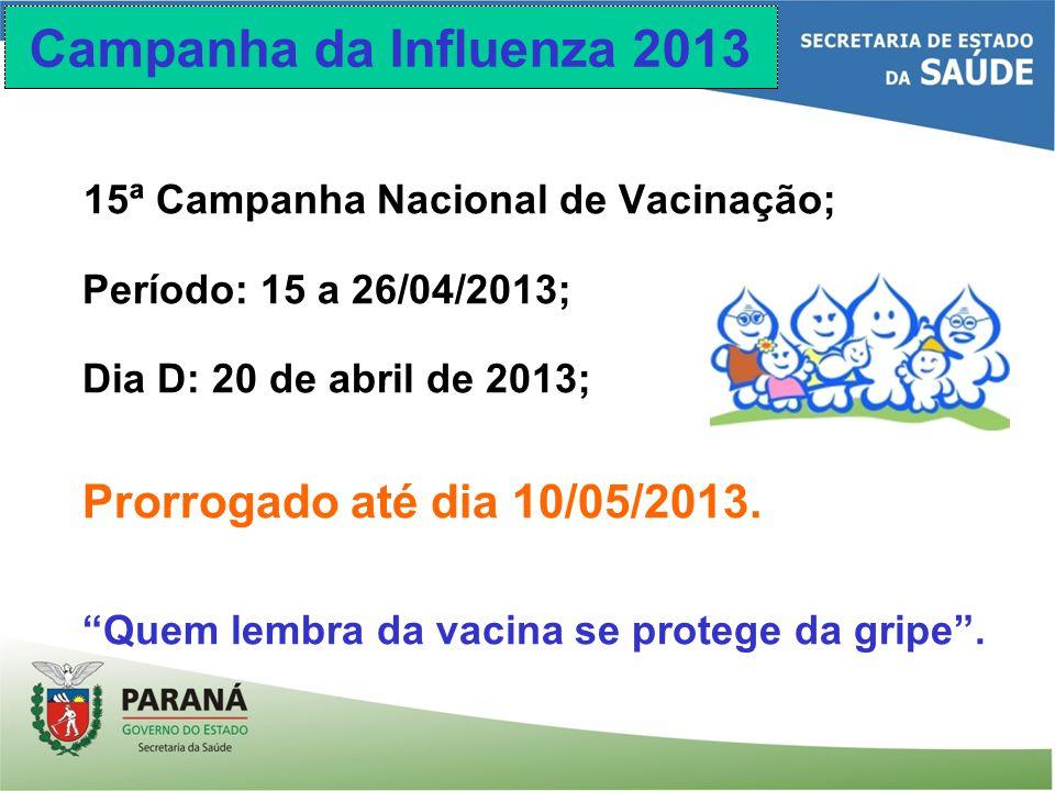 Campanha da Influenza 2013 15ª Campanha Nacional de Vacinação;