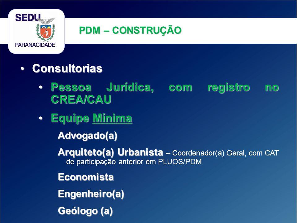 Pessoa Jurídica, com registro no CREA/CAU Equipe Mínima