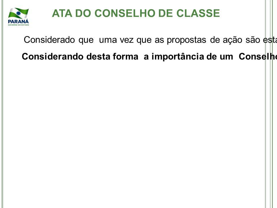 ATA DO CONSELHO DE CLASSE