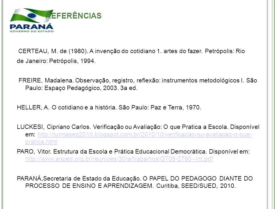 REFERÊNCIAS de Janeiro: Petrópolis, 1994.