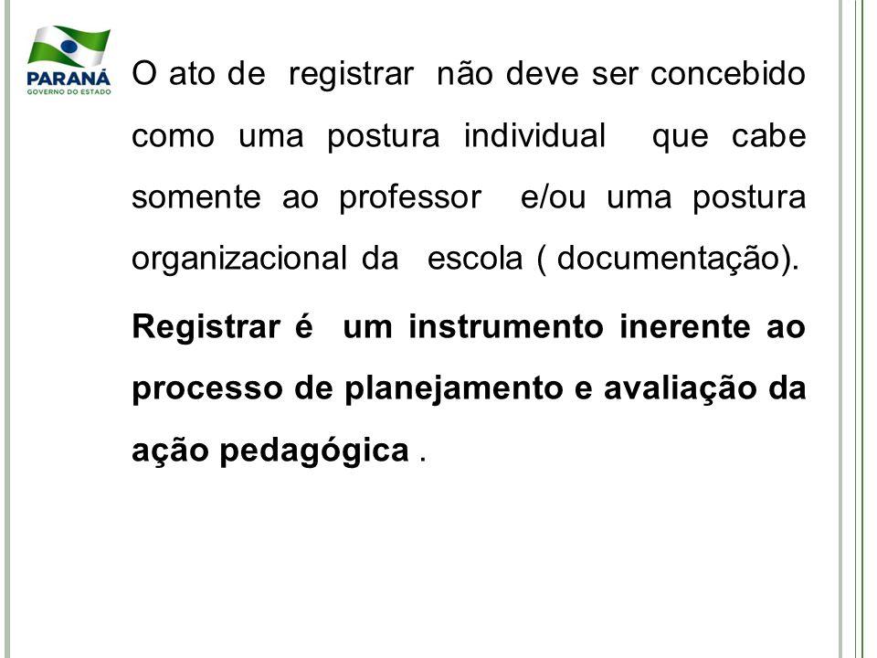 O ato de registrar não deve ser concebido como uma postura individual que cabe somente ao professor e/ou uma postura organizacional da escola ( documentação).