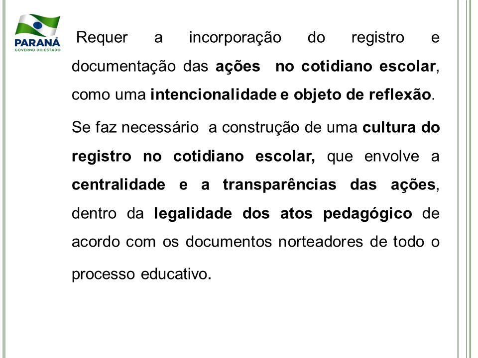 Requer a incorporação do registro e documentação das ações no cotidiano escolar, como uma intencionalidade e objeto de reflexão.