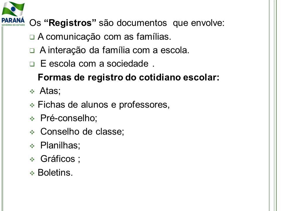 Os Registros são documentos que envolve: