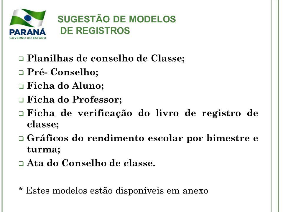 SUGESTÃO DE MODELOS DE REGISTROS. Planilhas de conselho de Classe; Pré- Conselho; Ficha do Aluno;