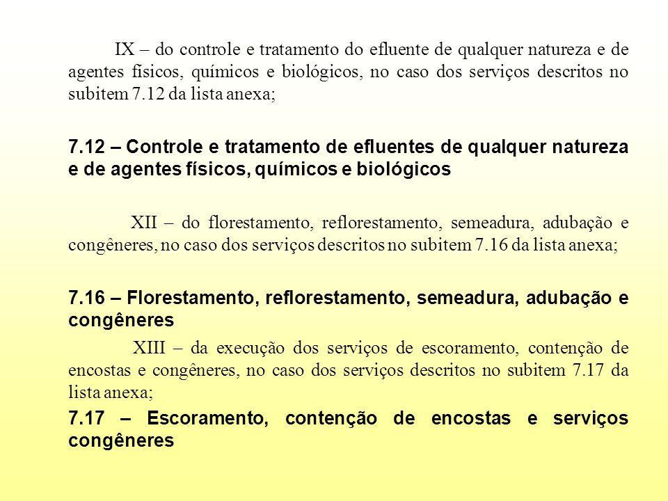 IX – do controle e tratamento do efluente de qualquer natureza e de agentes físicos, químicos e biológicos, no caso dos serviços descritos no subitem 7.12 da lista anexa;