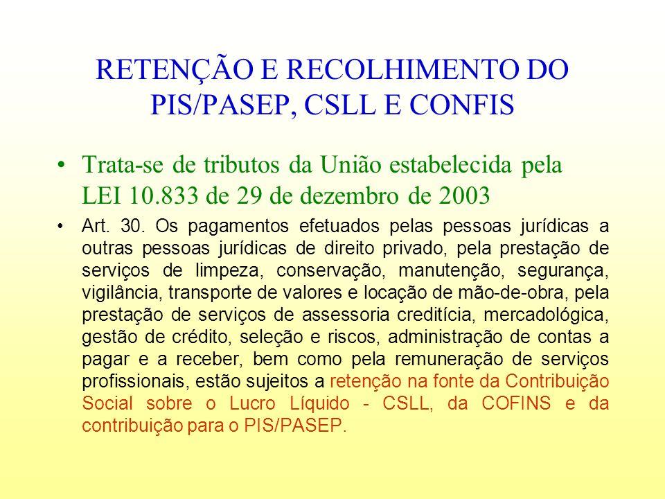 RETENÇÃO E RECOLHIMENTO DO PIS/PASEP, CSLL E CONFIS