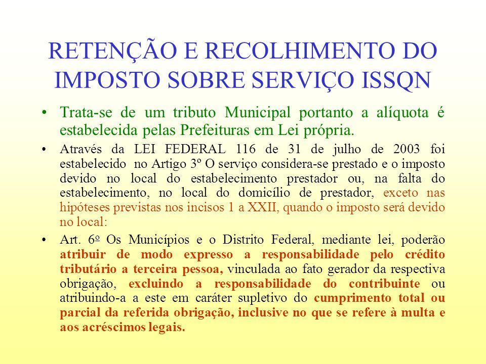 RETENÇÃO E RECOLHIMENTO DO IMPOSTO SOBRE SERVIÇO ISSQN