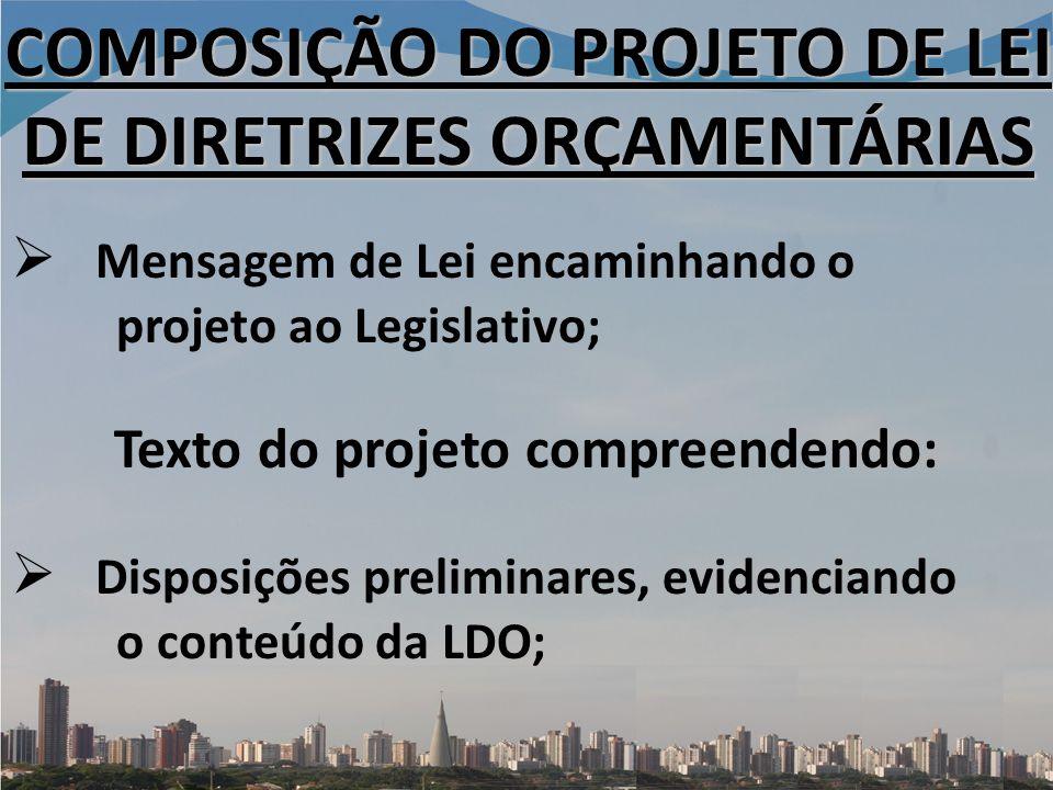 COMPOSIÇÃO DO PROJETO DE LEI DE DIRETRIZES ORÇAMENTÁRIAS