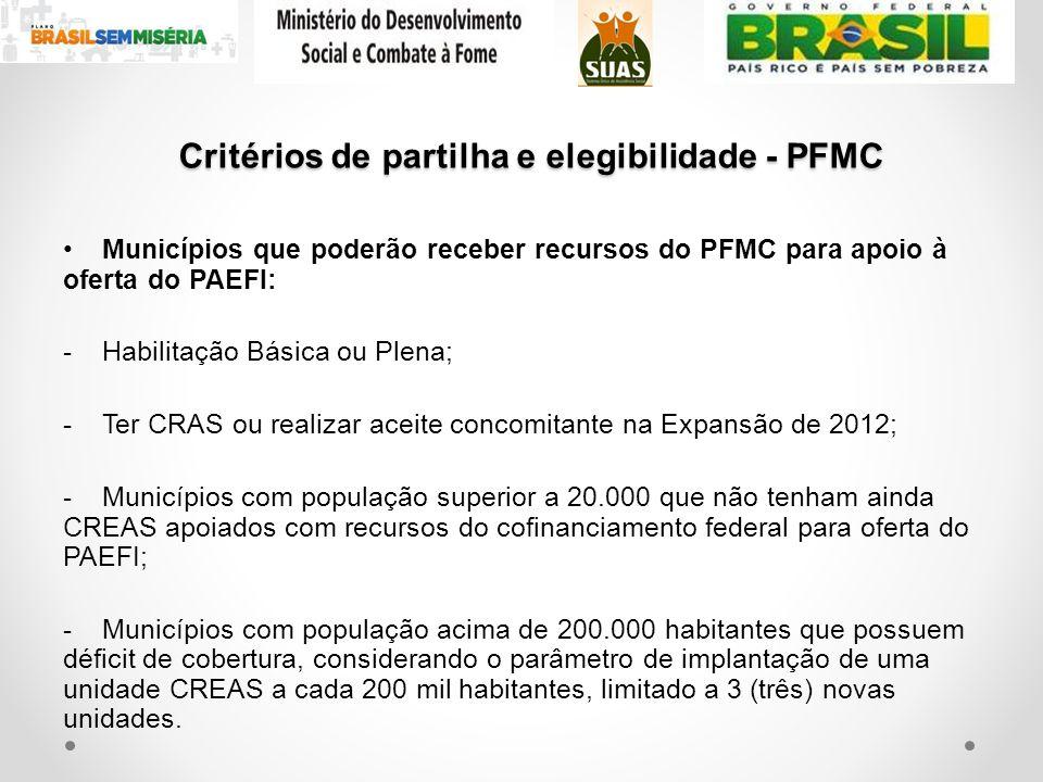 Critérios de partilha e elegibilidade - PFMC