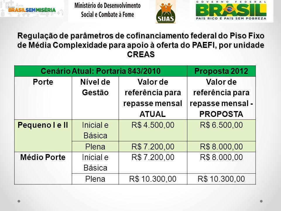 Cenário Atual: Portaria 843/2010 Proposta 2012 Porte Nível de Gestão