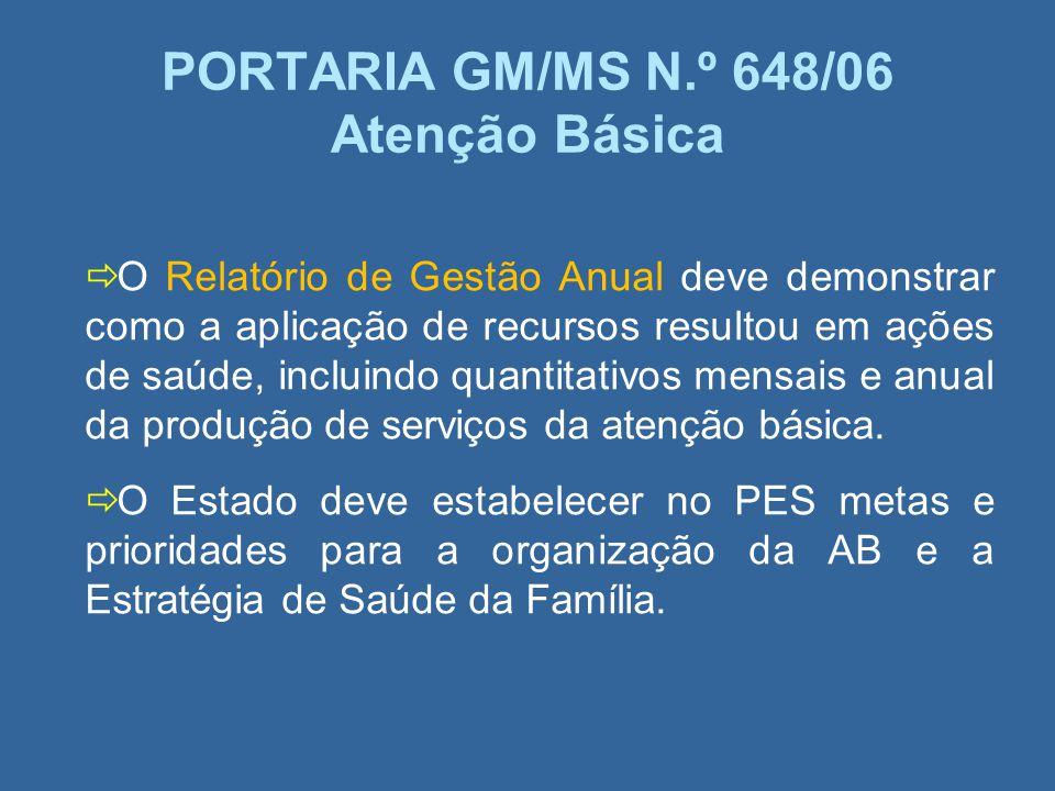 PORTARIA GM/MS N.º 648/06 Atenção Básica
