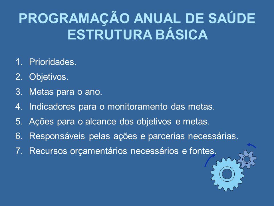 PROGRAMAÇÃO ANUAL DE SAÚDE ESTRUTURA BÁSICA
