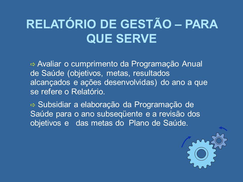 RELATÓRIO DE GESTÃO – PARA QUE SERVE