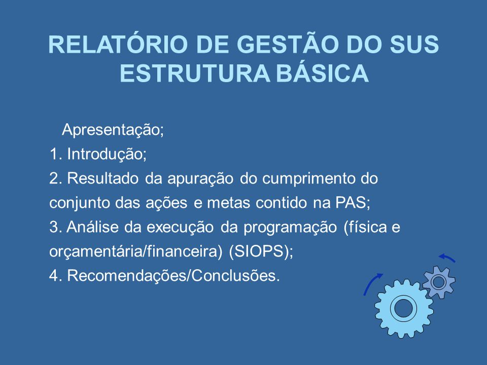 RELATÓRIO DE GESTÃO DO SUS ESTRUTURA BÁSICA