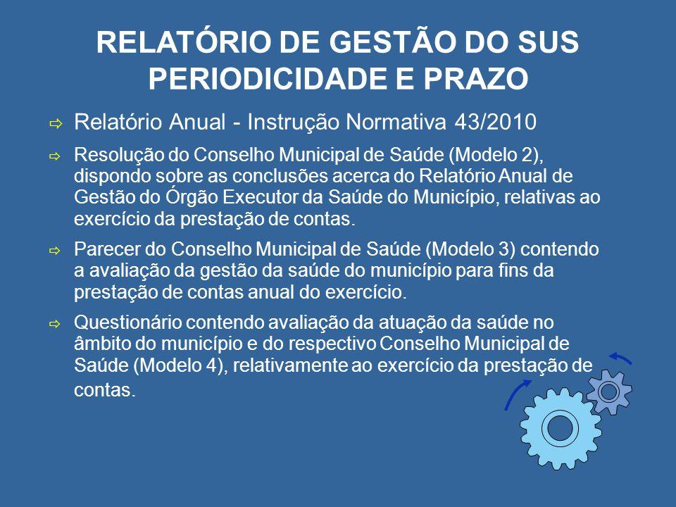 RELATÓRIO DE GESTÃO DO SUS PERIODICIDADE E PRAZO