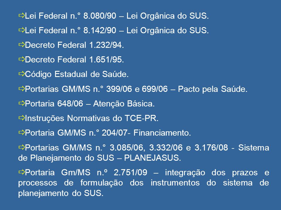 Lei Federal n.° 8.080/90 – Lei Orgânica do SUS.