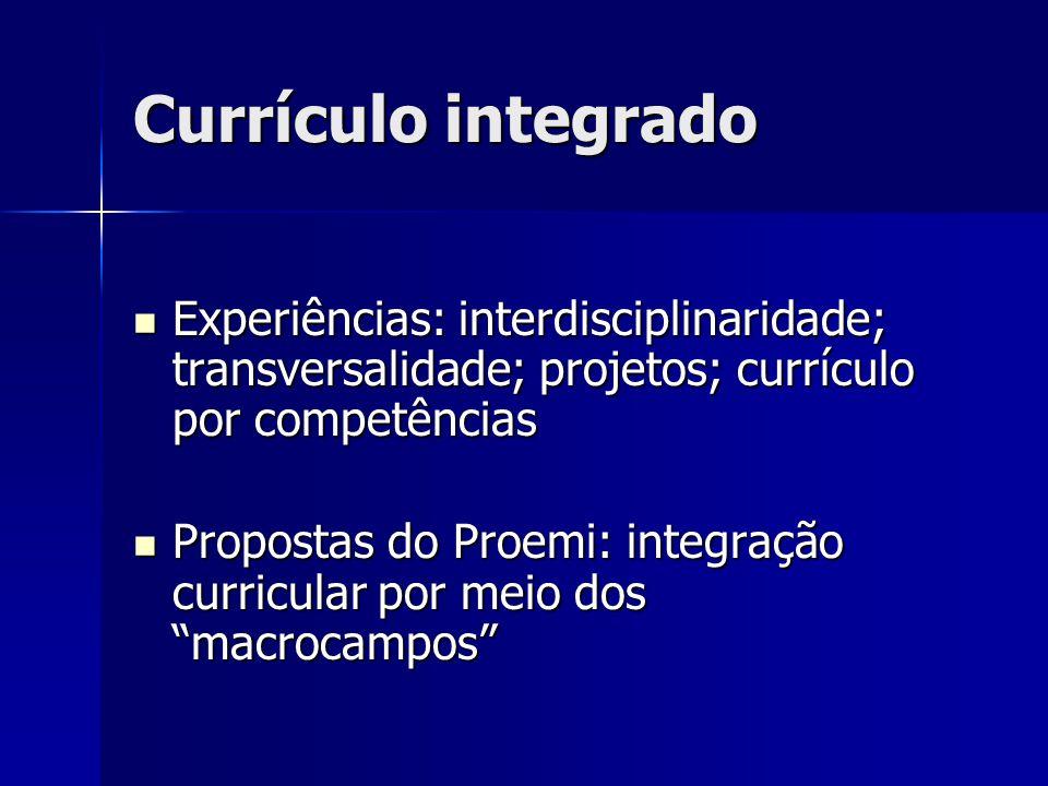 Currículo integrado Experiências: interdisciplinaridade; transversalidade; projetos; currículo por competências.