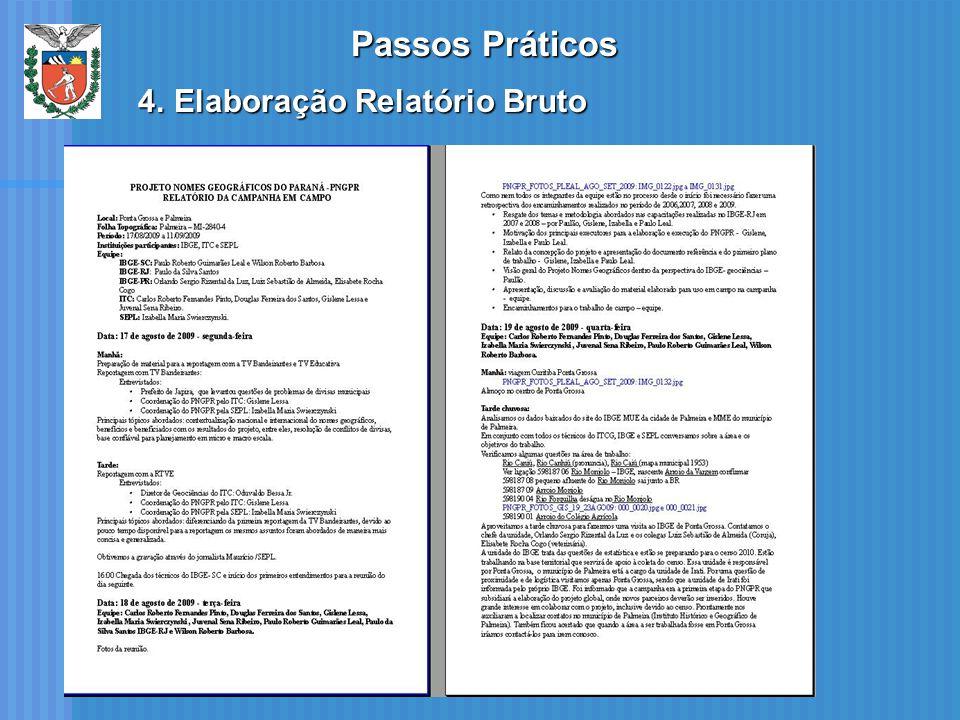 Passos Práticos Elaboração Relatório Bruto