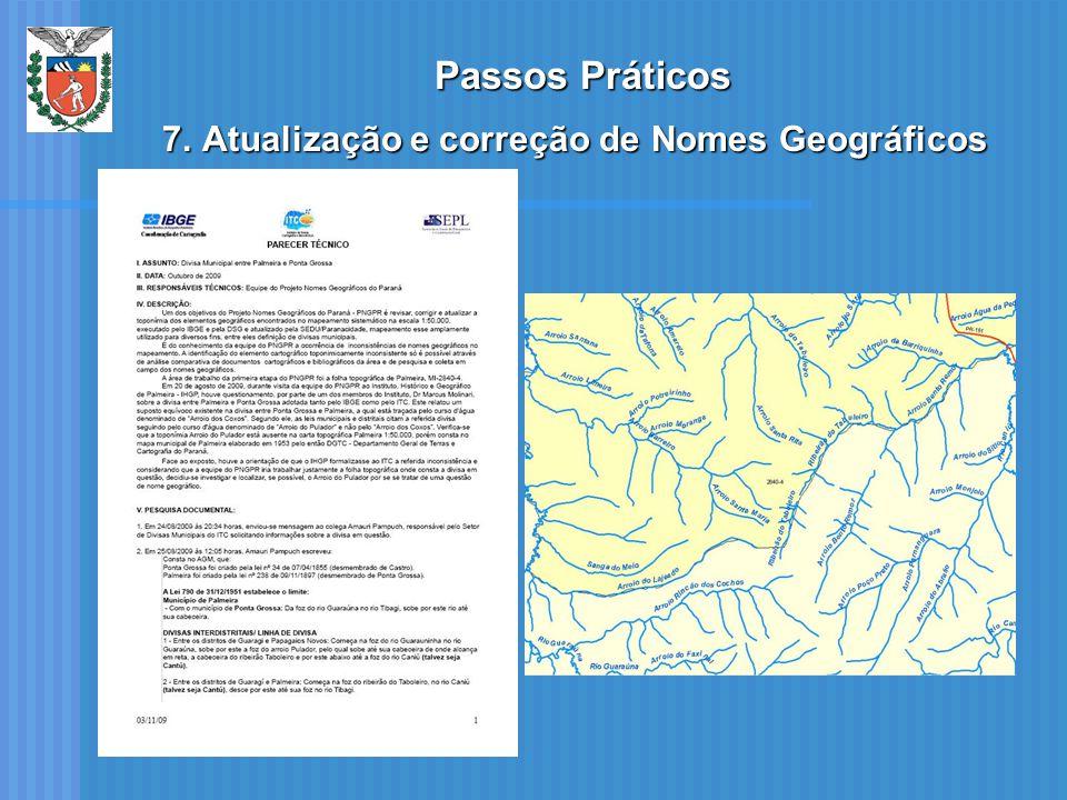 Passos Práticos Atualização e correção de Nomes Geográficos
