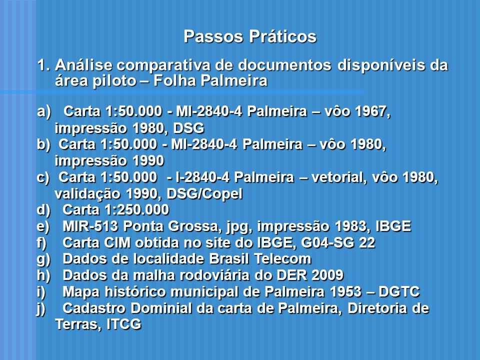 Passos Práticos Análise comparativa de documentos disponíveis da área piloto – Folha Palmeira.