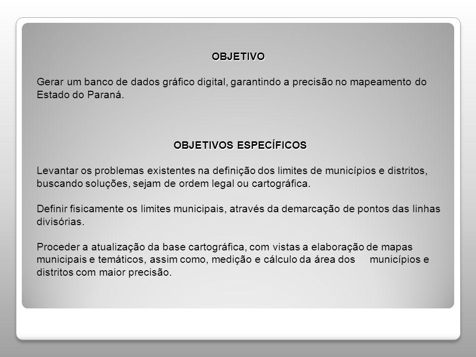 OBJETIVO Gerar um banco de dados gráfico digital, garantindo a precisão no mapeamento do Estado do Paraná.
