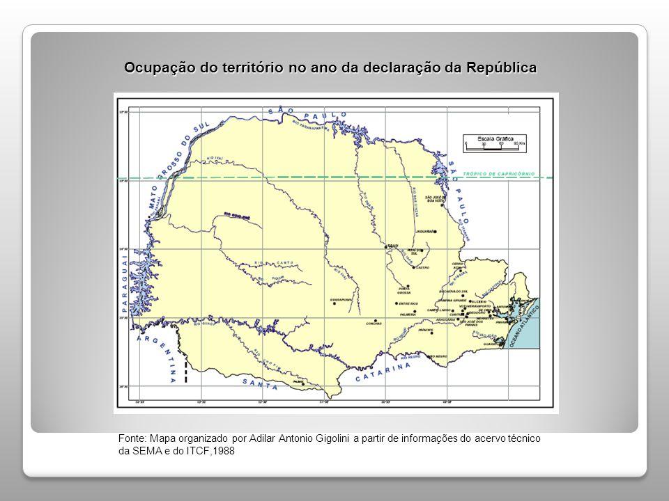 Ocupação do território no ano da declaração da República
