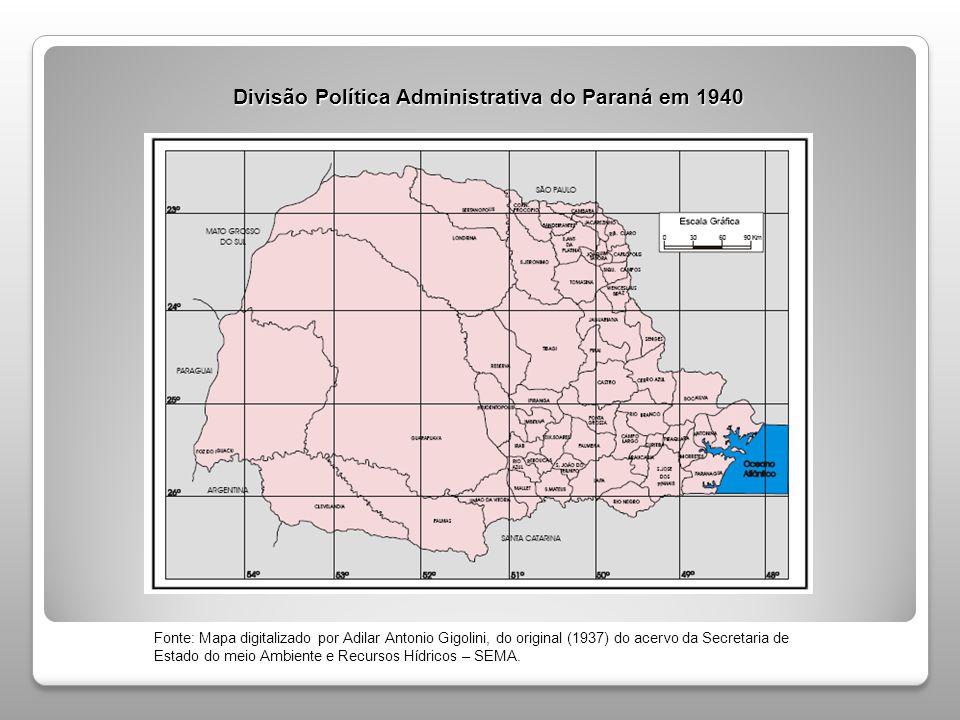 Divisão Política Administrativa do Paraná em 1940
