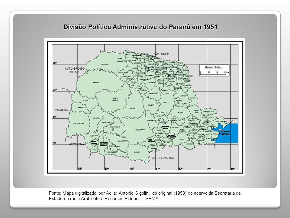 Divisão Política Administrativa do Paraná em 1951