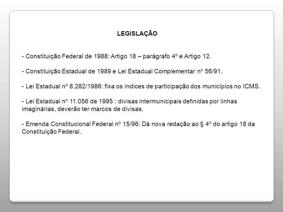 LEGISLAÇÃO - Constituição Federal de 1988: Artigo 18 – parágrafo 4º e Artigo 12.