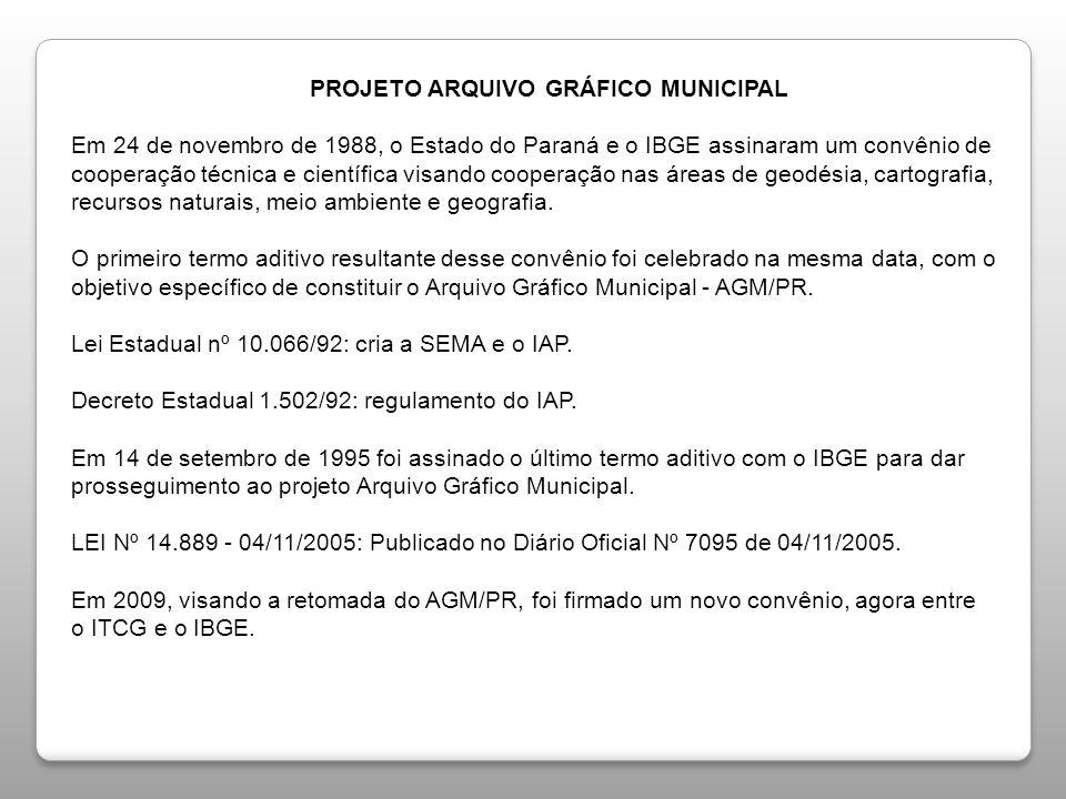 PROJETO ARQUIVO GRÁFICO MUNICIPAL Em 24 de novembro de 1988, o Estado do Paraná e o IBGE assinaram um convênio de cooperação técnica e científica visando cooperação nas áreas de geodésia, cartografia, recursos naturais, meio ambiente e geografia.