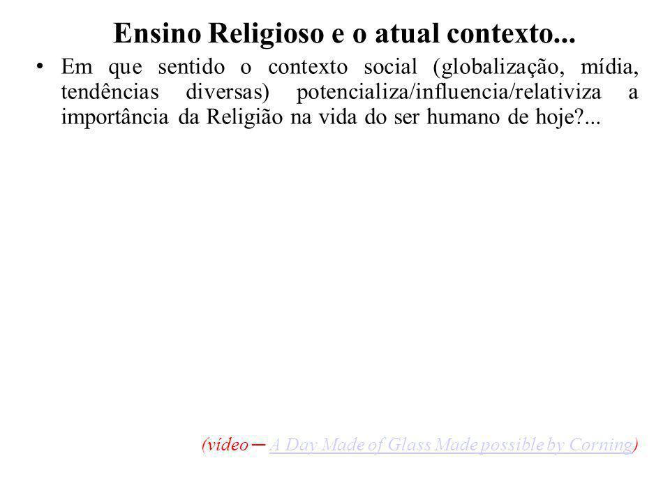 Ensino Religioso e o atual contexto...