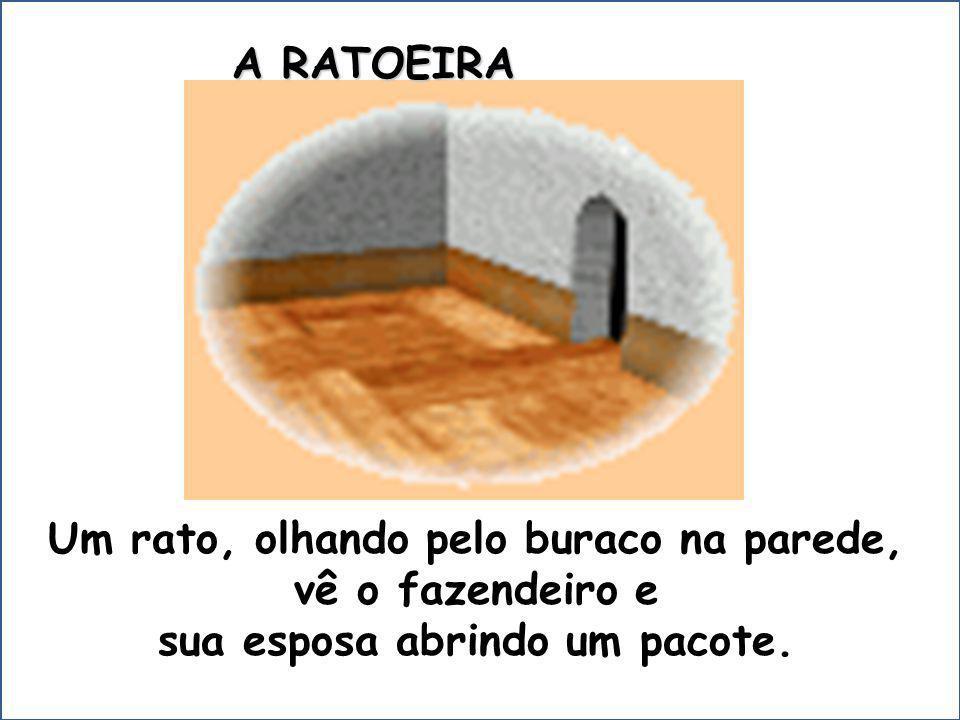Um rato, olhando pelo buraco na parede, sua esposa abrindo um pacote.