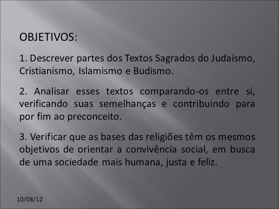 OBJETIVOS: 1. Descrever partes dos Textos Sagrados do Judaísmo, Cristianismo, Islamismo e Budismo.