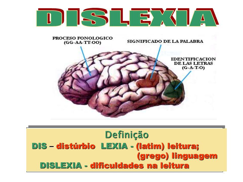 DISLEXIA Definição DIS – distúrbio LEXIA - (latim) leitura;