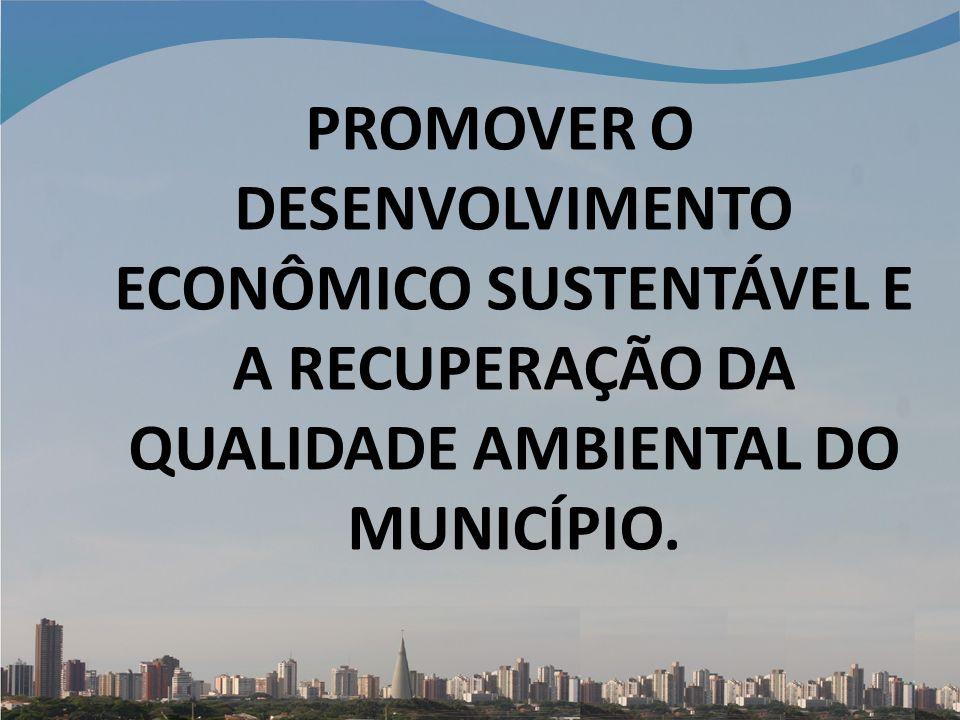 PROMOVER O DESENVOLVIMENTO ECONÔMICO SUSTENTÁVEL E A RECUPERAÇÃO DA QUALIDADE AMBIENTAL DO MUNICÍPIO.