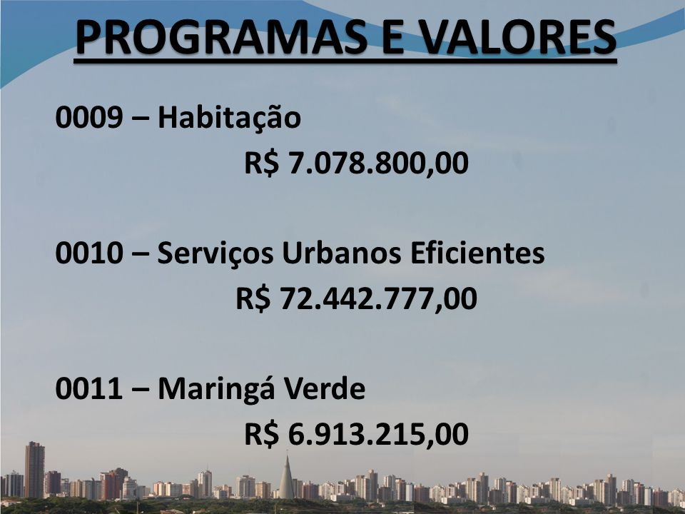 PROGRAMAS E VALORES 0009 – Habitação R$ 7.078.800,00 0010 – Serviços Urbanos Eficientes R$ 72.442.777,00 0011 – Maringá Verde R$ 6.913.215,00