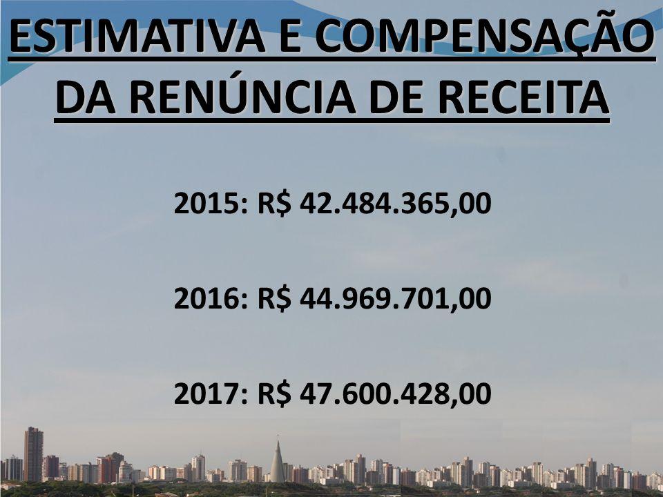 ESTIMATIVA E COMPENSAÇÃO DA RENÚNCIA DE RECEITA