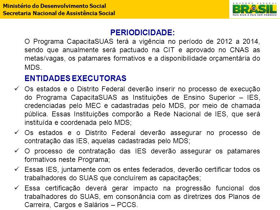PERIODICIDADE: O Programa CapacitaSUAS terá a vigência no período de 2012 a 2014, sendo que anualmente será pactuado na CIT e aprovado no CNAS as metas/vagas, os patamares formativos e a disponibilidade orçamentária do MDS.