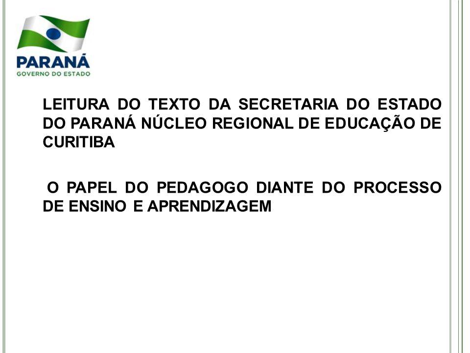 LEITURA DO TEXTO DA SECRETARIA DO ESTADO DO PARANÁ NÚCLEO REGIONAL DE EDUCAÇÃO DE CURITIBA