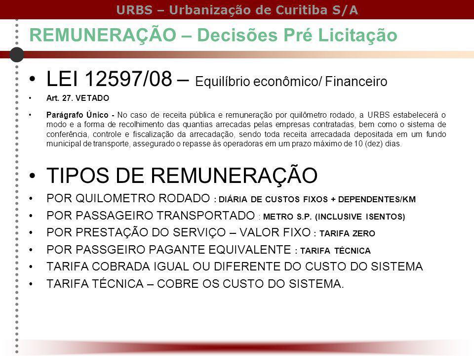 LEI 12597/08 – Equilíbrio econômico/ Financeiro